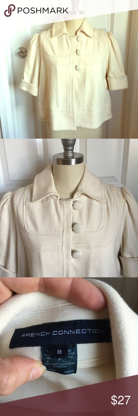 French Connection Cropped Cream Jacket Heavy cropped cream jacket by French Connection. In great condition! Can be worn open or closed for an extremely cute look! TSC3.5 French Connection Jackets & Coats Pea Coats