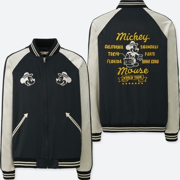 UNIQLO Women's Mickey Travels Souvenir Jacket (£43) ❤ liked on Polyvore featuring outerwear, jackets, black, travel jacket, uniqlo and uniqlo jacket