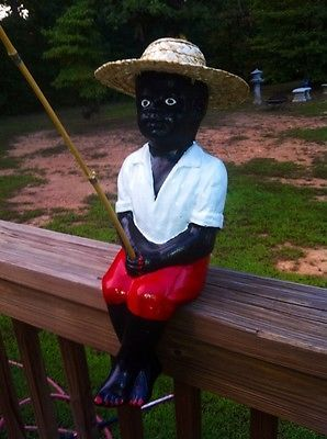 concrete black fisher boy statue rastus jr fishing pond