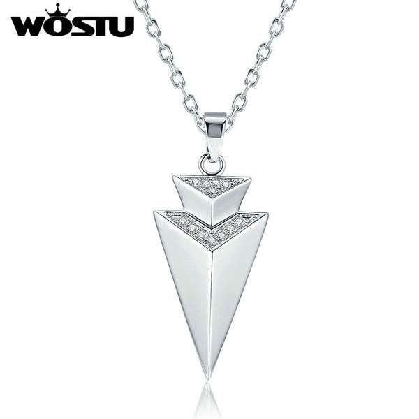 FuzWeb:WOSTU New Trendy Elegant Taper Pendant Necklaces For Women With Clear CZ Jewelry Best Gift For Lover XCNN063