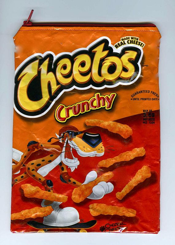 Cheetos Crunchy Wrapper Up-cycled Zippered Bag/Pouch