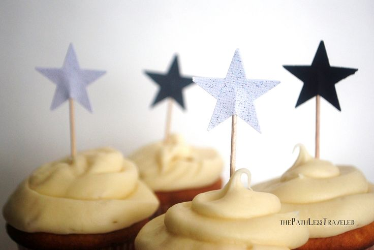 Silver and Black Star Cupcake toppers