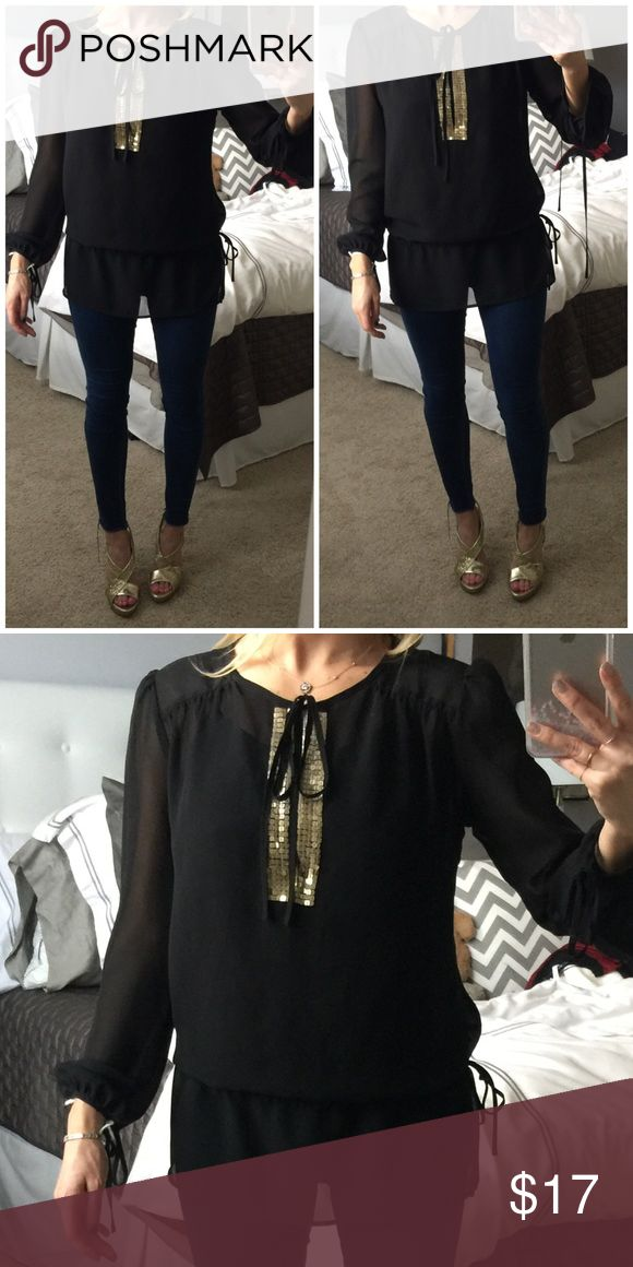 Super Black Tunic with Gold Sequins - S Super Black Tunic with Gold Sequins - S. Shoes in pic also for sale! Size 8.5. Anthropologie Tops