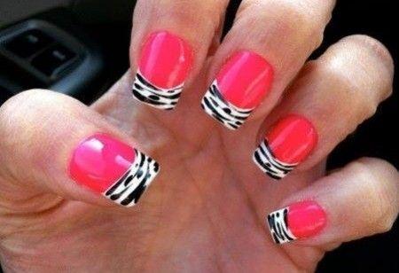 hot pink tips nail Zebra