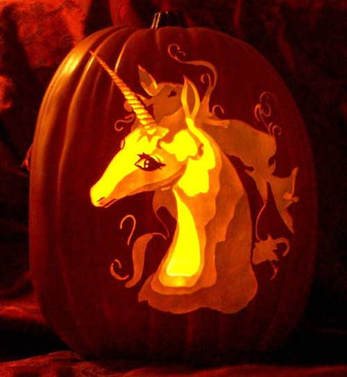 Last unicorn carved pumpkin by the geek getting