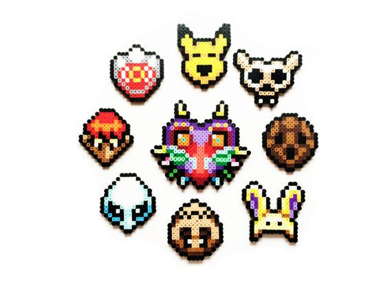 Each Link and Zelda Sprite is handmade to order.    This list of for a full set 8, 9 of or your choice of one mask from the following:    - Keaton