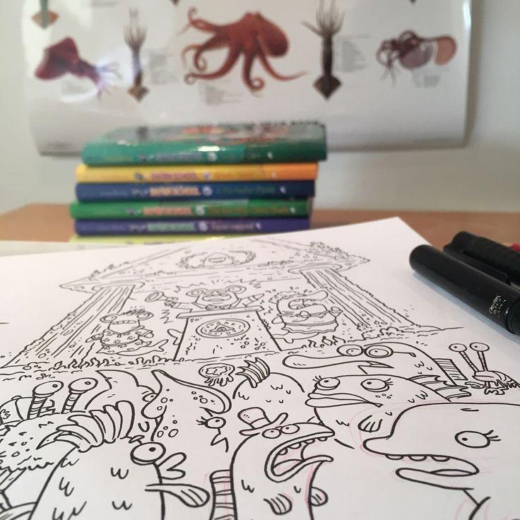 Inking sea creatures for the new Shark School book under my new cephlapod  poster. Thanks @smearyfairy! #illustration #characterdesign #cartoon #squid #kidlitart #drawing #doodle #sharks #instaartist #digitalart #octopus  #artistsoninstagram #inking