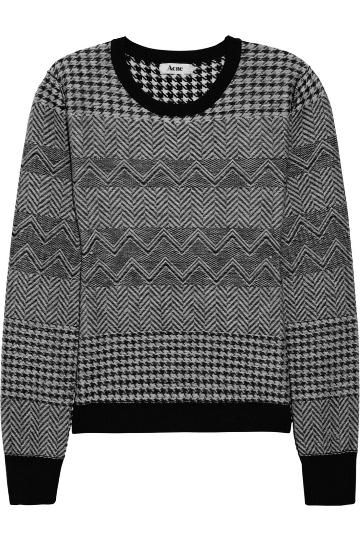 Lil houndstooth and herringbone wool sweater by Acne    cosby sweaters at their finest