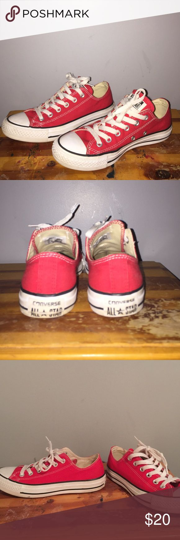 """Beautiful red converse for a great deal! Red converse, a little discoloration in the back """"all-stars"""" label. Gray condition. Wonderful shoes. Buy now! Will negotiate price!!!!!! Converse Shoes Flats & Loafers"""