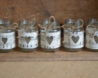 Rustic Wedding Jars - Vintage Sheet Music & Twine Bows - Perfect for tea light candles SALE!!!