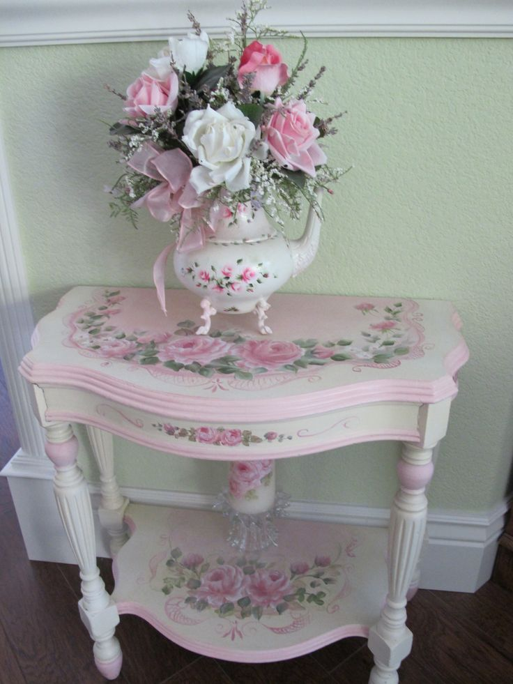 shabby chic pink table and roses-painted treasures
