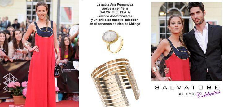 La actriz Ana Fernandez vuelve a ser fiel a SALVATORE PLATA en el certamen de cine de Málaga con dos brazaletes y un anillo de la colección Primavera-verano 2013