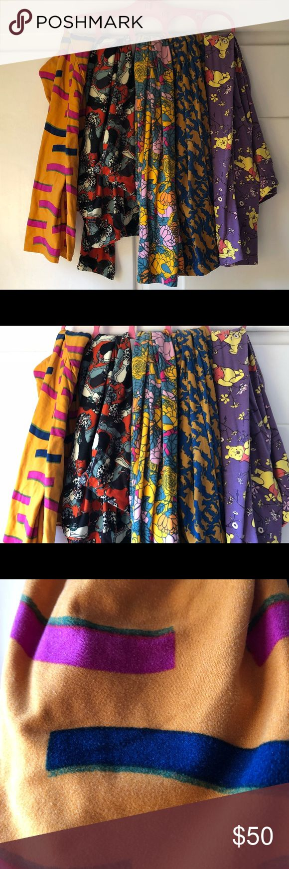5 pair LuLaRoe leggings size TC 5 pairs of LLR leggings in TC! Great deal for many many comfy leggings. These are so soft and multiple cute patterns including cruella deville and Winnie the Pooh! These have all been worn and cleaned according to LLR guidelines. If you don't want all five pair let me know and I'll make a listing for each individual pair at $12 each!  Make an offer or put in a bundle to save 😀 LuLaRoe Pants Leggings