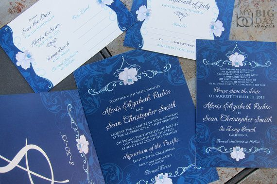 Elegant Orchid Wedding Invitation Suite. Navy by mybigdaydesigns