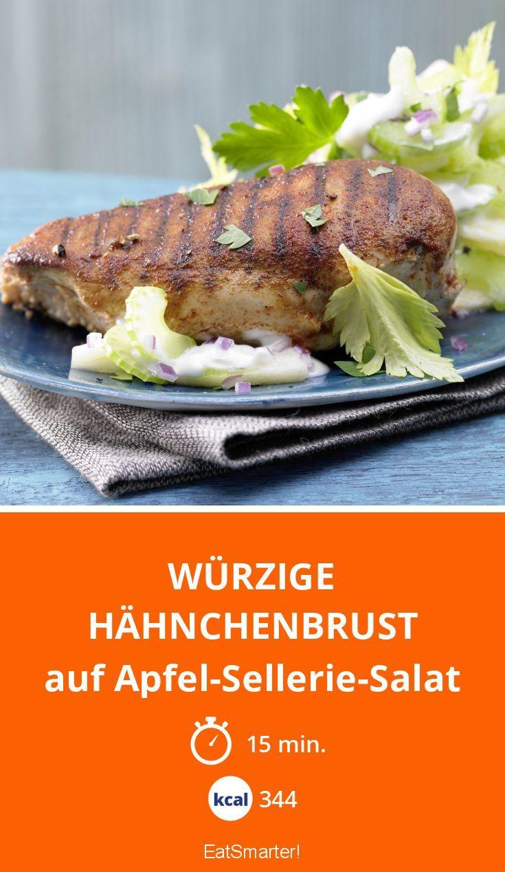 Würzige Hähnchenbrust - auf Apfel-Sellerie-Salat - smarter - Kalorien: 344 Kcal - Zeit: 15 Min. | eatsmarter.de