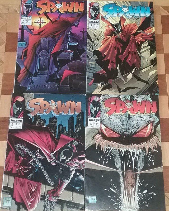 Lot of 4 Spawn Comic Books #2 #3 #4 #5 Todd McFarlane Image Comics 1st Printings
