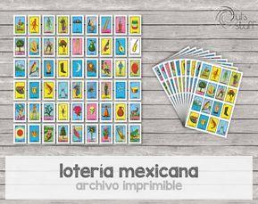Juega con esta divertida lotería mexicana. Son 54 cartas de 4.86 x 6.98 cm aproximadamente cada una y 10 tablas de 13.97 x 21.59 cm aproximadamente. Si quieres la versión en inglés está aqui: https://www.etsy.com/mx/listing/487257899/loteria-mexicana-en-ingles Cualquier pregunta u