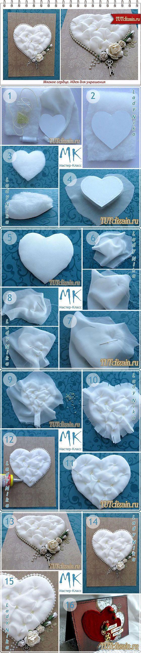 Мягкое сердце. Идея для украшения » Дизайн & Декор своими руками Идея для подушечки для колец... ♥ Deniz ♥