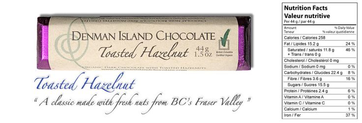 Denman Island Chocolate Toasted Hazelnut., other flavours too:)