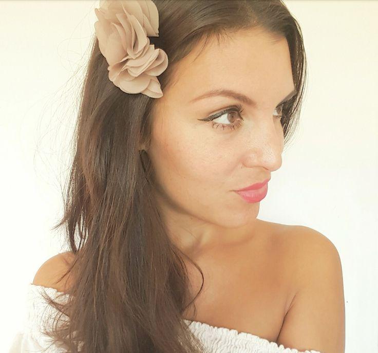 peigne cheveux mariage fleurs taupe et bronze bohme accessoire cheveux demoiselle dhonneur - Accessoir Cheveux Mariage