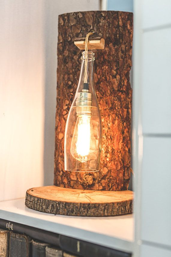 Rustic floor lamp with lamp / / wooden bottle lamp