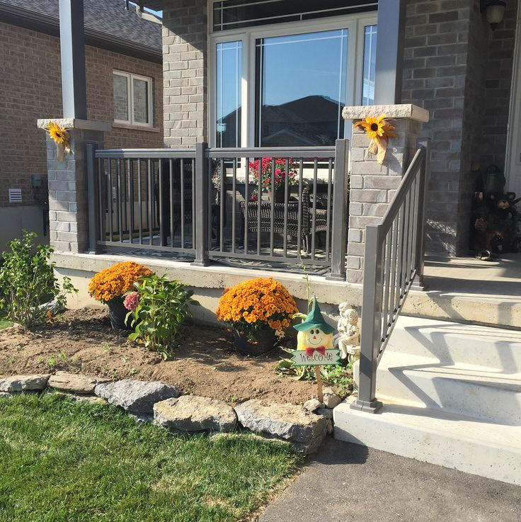 Exterior aluminum rails to spruce up this porch. What do you think? #stairs #railing #railings #exteriordesign #homedecor #luxuryhomes #handyman #follow4follow #followme #beautiful #garden #landscape #landscaping #tools