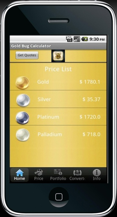 Gold Bug Calculator Iphone/Android App for Precious Metal Investors,Professionals and Coin Collectors