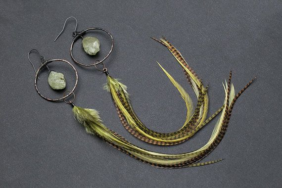 Tribal style, very long earrings made with hammered copper hoops. Hoops are patinated. Inside hoops crystal quartz in light green color -