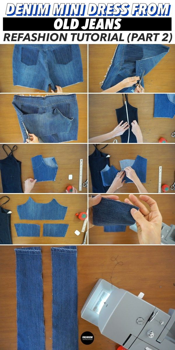 011e5a70bb2 Creative step by step tutorial videos on how to make refashion denim mini  dress from old jeans for your simple DIY projects ideas. Beautiful denim  dress for ...