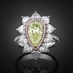 Fancy Intense Yellow Green Diamond Ring ~ Pear Shape, Rare Diamonds, Colored diamonds, Gifts for her, unique engagement rings ~ M.S. Rau Antiques