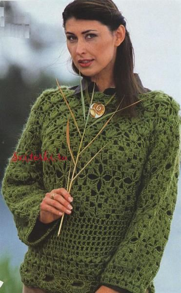Вязание свитеров крючком для девушек