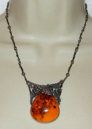 Vintage Sterling Silver Amber Mod Modernist Necklace Grapes Signed RJ 925   eBay SOLD