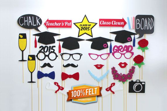100% Felt Graduation Photo Booth Props - 28 Piece Graduation Photobooth Prop Set, Class of 2015, Graduation Gift, Photo Booth Graduation