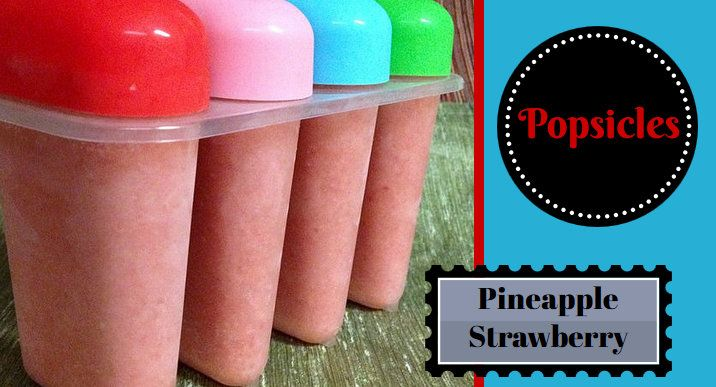 Pineapple Strawberry Popsicles For Motion & Morning Sickness - These tropical popsicles only contain 3 ingredients! They're fun to make…and eat ;-) Great to have on hand in case of a sweet tooth attack, after a heated work-out, or a cool treat on a hot day!