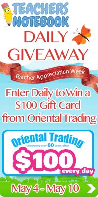 Giveaway: $100 Oriental Trading Gift Card EVERY DAY! Whew- I could do a lot of damage with this :)