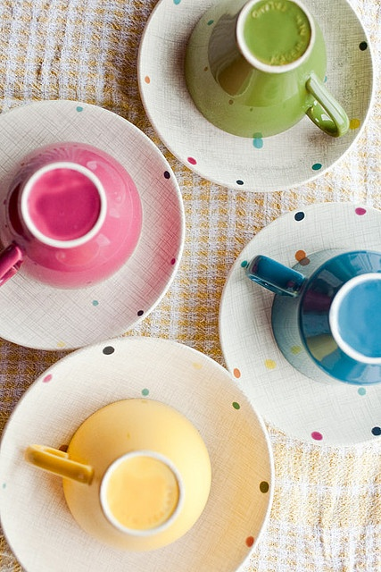 Crown Lynn Fiesta cups and saucers | Angela Keoghan