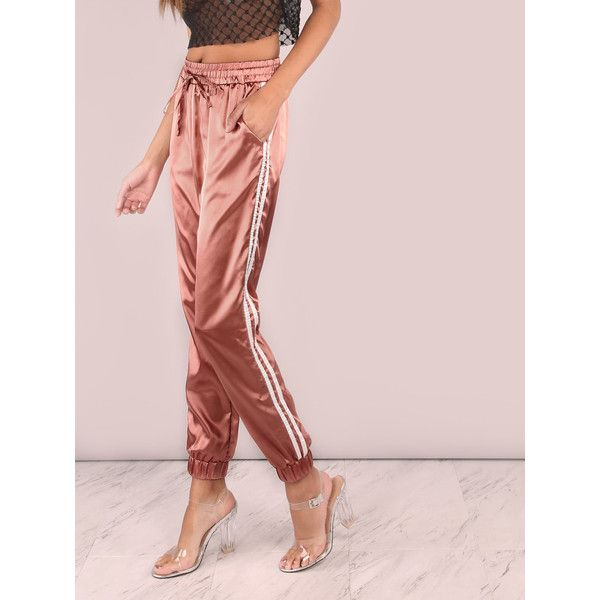 Satin Luxe Trainer Joggers MARSALA (13 BAM) ❤ liked on Polyvore featuring shoes, sneakers, satin shoes, jogging shoes and jogging sneakers