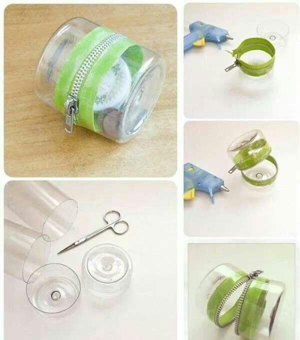 Plastic bottle zipper container DIY Best out of waste :D #followformore