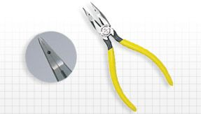 "Long Nose Cut Crush Strip L3 Pliers - KS21257L3 Long nose with side cutter, crushing slot, one .030"" stripping hole and a thin knurled nose to facilitate handling wire at the terminals.  Yellow plastic handle. 6 3/16"" long."