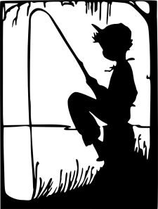 Boy fishing silhouette