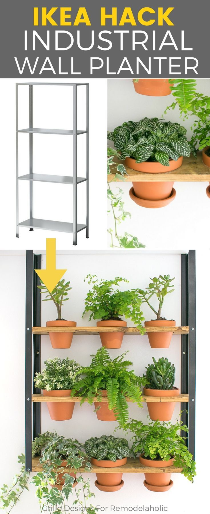 HYLISS IKEA HACK - Sharing how I used the IKEA HYLLIS shelf to create an industrial style wall planter. See Remodelaholic for tutorial!