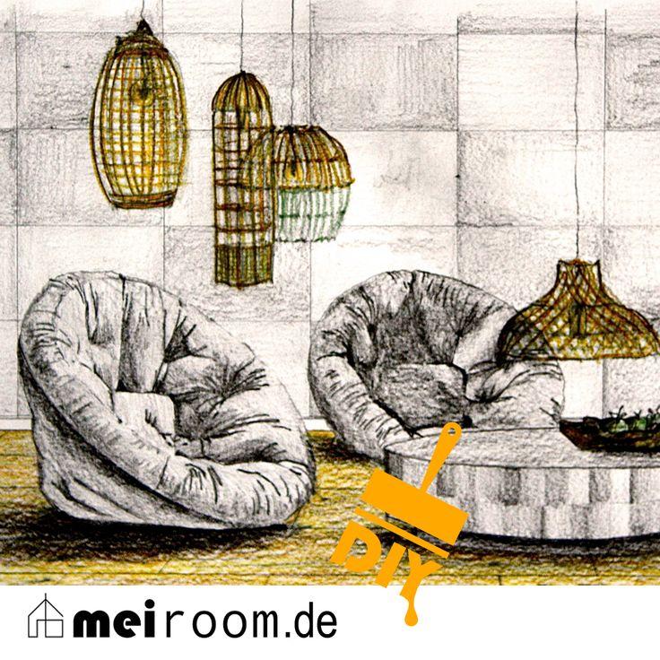 EIN WOHNZIMMER VOLL IM TREND! www.meiroom.de Mal die Spießigkeit verlassen und gegen jede Regel streben! Keine Couch auf Sitzhöhe, die jeder hat - sondern lässige 'Chillout-Sessel', die das Wohnzimmer zu einem ganz außergewöhnlichen Treffpunkt machen. Schaut rein in meinen neuesten Post - Eure Sonja  #Inneneinrichtung #interiordesign #diy #meiroom #Loungemöbel #Wohnzimmer #livingroom #Architektur #architecture #Pendelleuchten #Beton