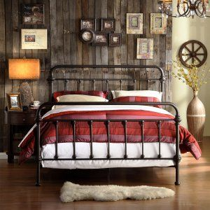 Homelegance Nottingham Metal Spindle Bed - The Nottingham Metal Spindle Bed - Antique Dark Bronze has a rustic, retro vibe. Both the headboard and footboard of this classic bed are graced...