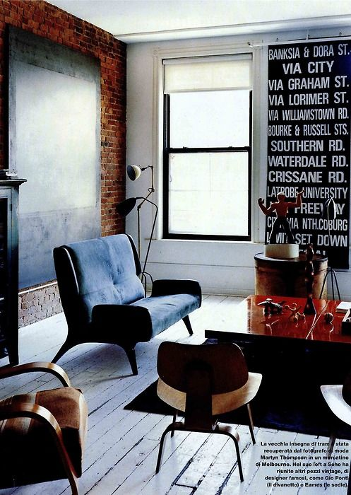 Interior design, decoration, loft, furniture, i like the idea of a big quote on the wall: Decor, Interior Design, Living Rooms, Interiors, Livingroom, Bricks, Brick Walls, House, Space