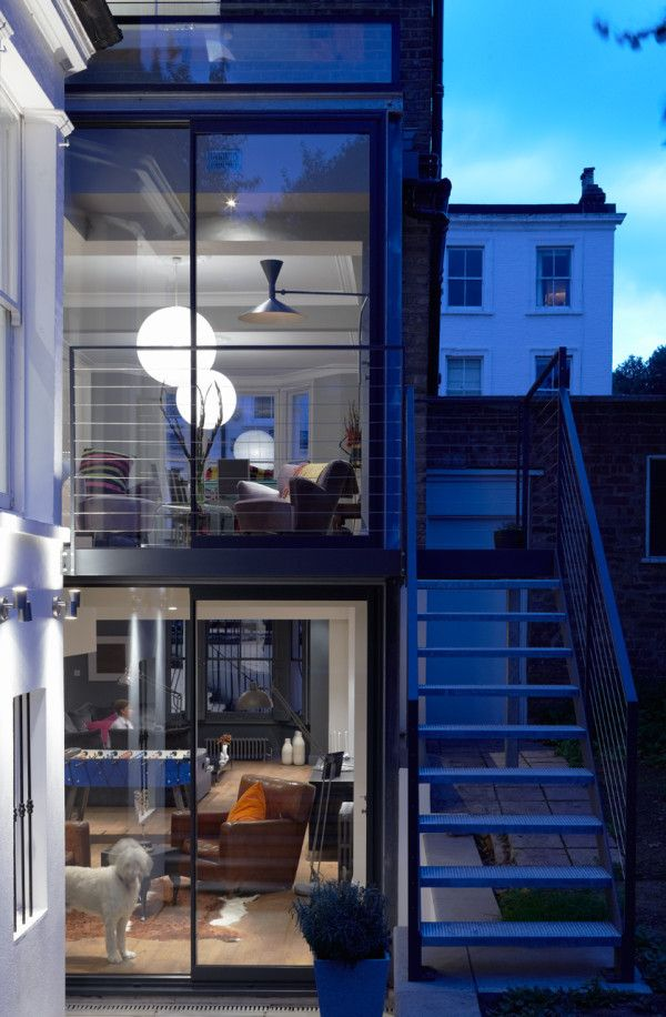 Modern Glass Extension on a 5 Story London Townhouse Photo