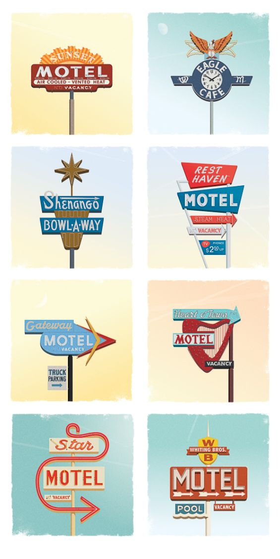 Old motel totem illustrations by Harry Sutherland-Hawes