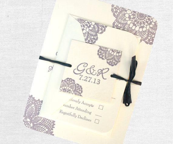 Lace Letterpress Rustic Wedding Invitation: purple, cream, blue, or any colors (scheduled via http://www.tailwindapp.com?utm_source=pinterest&utm_medium=twpin&utm_content=post604883&utm_campaign=scheduler_attribution)