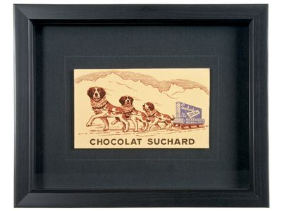 Framed Vintage French Suchard Chocolate Advertising Postcard