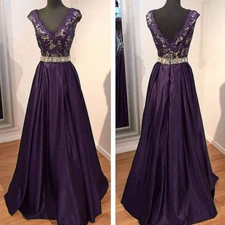 ,Dark Purple Prom Dresses,Satin Prom Dress,2016 Sexy V Neck Prom Dresses