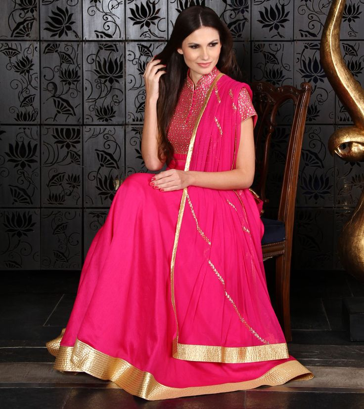Fuchsia Chanderi Anarkali Suit with Cut Dana. pink designer anarkali with gold embroidery. #anarkali #pink anarkali #designeranarkali